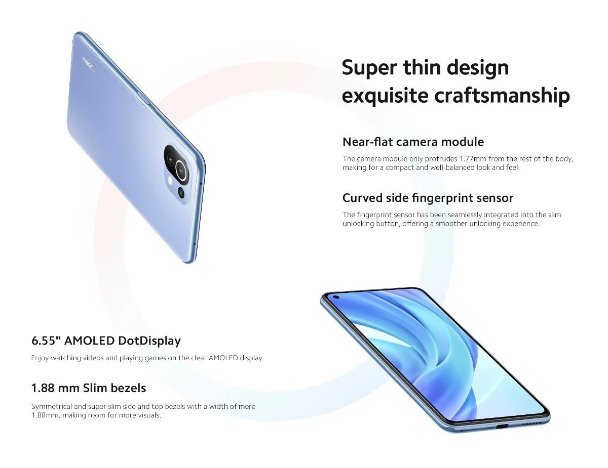 Xiaomi Mi 11 Lite Smartphone 6GB+128GB -EU Version 6.55 Inch AMOLED Display,64MP Triple Rear Camera, 16MP Front Camera, Dual SIM