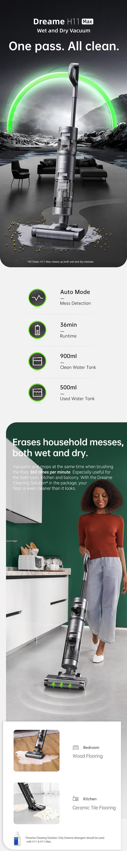 Dreame H11 Max Wireless Wet Dry Smart Vacuum Cleaner EU Version - 10000PA Home Handheld Household Mess Sensing Self-Cleaning Vacuum LED Screen